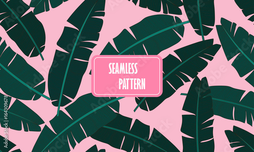 Seamless Tropical Pattern With Banana Leaves Composition Of Green Palm Leaf On A Light