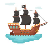 Wooden pirate buccaneer filibuster corsair sea dog ship game icon isolated flat design vector illustration
