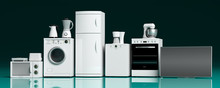 Home Appliances On Green Blue ...