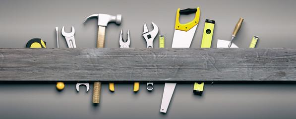 Narzędzia ręczne na szarym tle drewniane. 3d ilustracja
