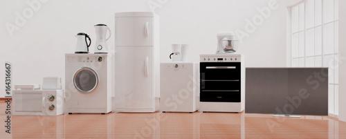 Home appliances on wooden floor. 3d illustration Canvas Print