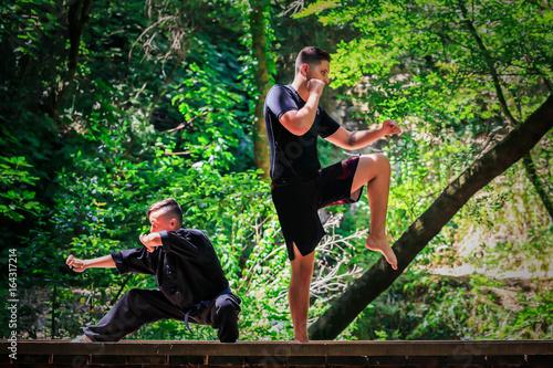 Deurstickers Vechtsport Deux garçons pratiquant les arts martiaux. Garde de combat - Kickboxing et Kung fu
