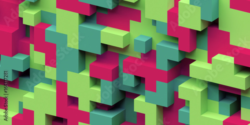 3d render, abstract geometric background, colorful constructor, logic game, cubi Canvas Print