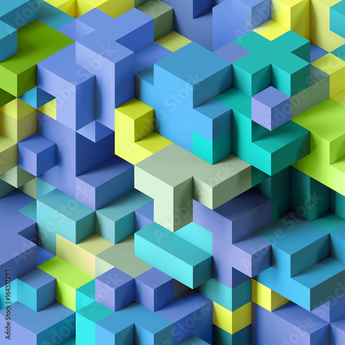 Photo  3d render, abstract geometric background, colorful constructor, logic game, cubi