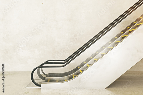 Escalator on empty concrete background Canvas Print