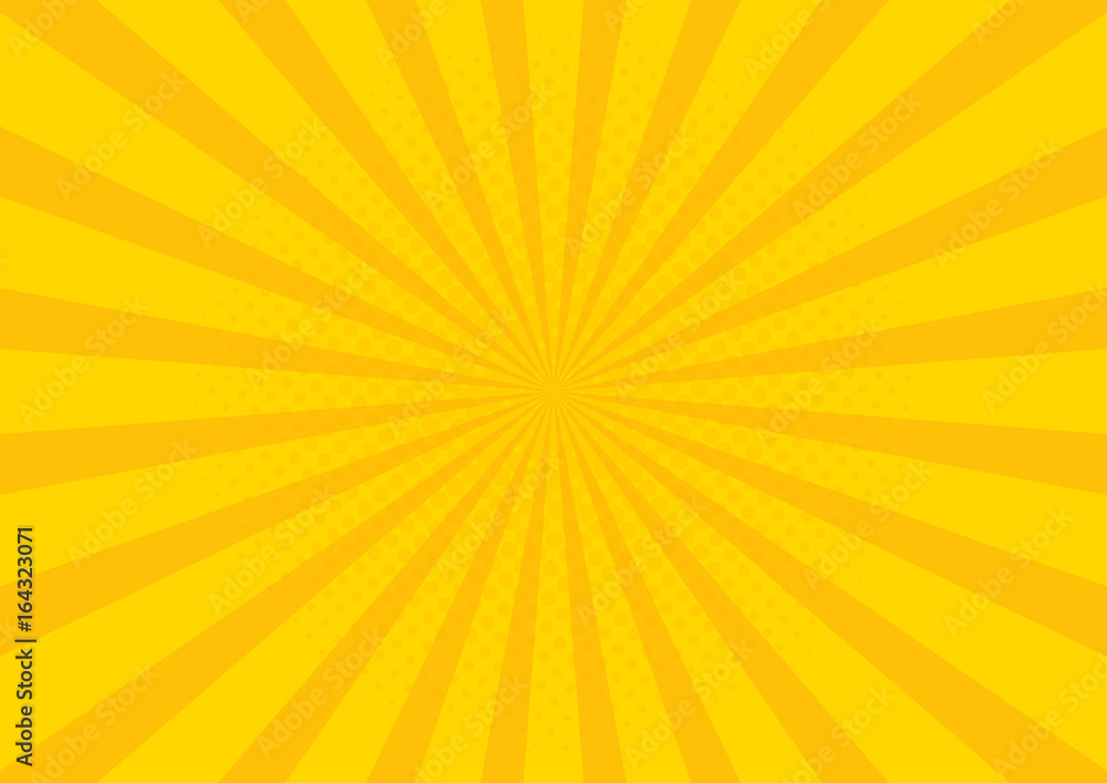 Fototapeta Yellow Retro vintage style background with sun rays vector illustration