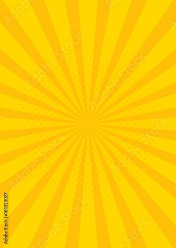 Obraz Yellow Retro vintage style background with sun rays vector illustration - fototapety do salonu