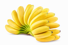 Bunch Of Bananas Isolated On White Clipping Path