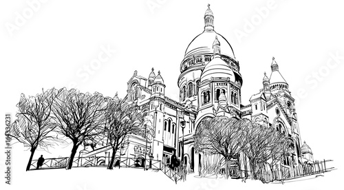 Papiers peints Art Studio Basilica of the Sacred Heart, Paris, France