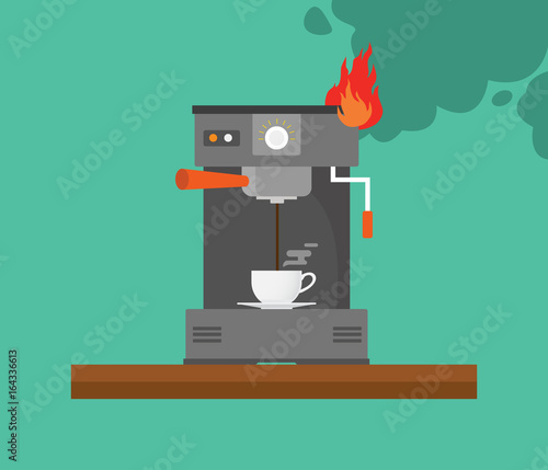 Photo broken coffee machine with smoke and fire