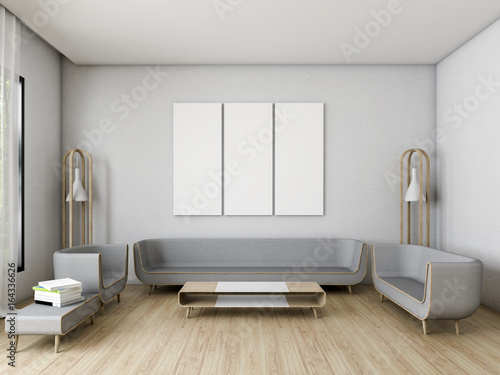 Plakat Nowoczesny salon Biała ściana z 3 ramkami