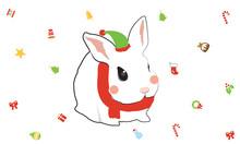 Cute Rabbit Wearing Christmas ...