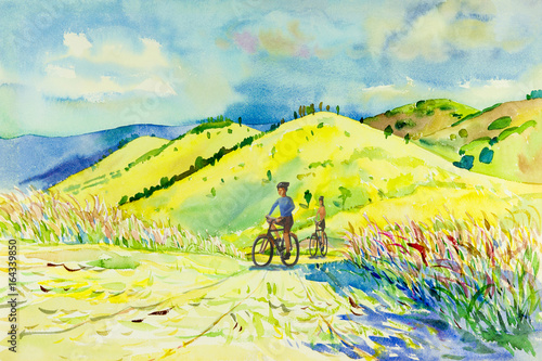 Deurstickers Geel Painting watercolor landscape of mountain hill and man,woman.