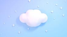 Cute White Clouds And Stars. B...