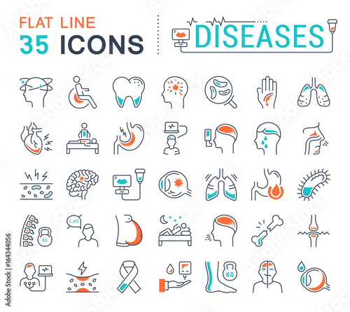 Fotomural Set Vector Flat Line Icons Diseases