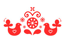 Cute Scandinavian Folk Decoration Vector