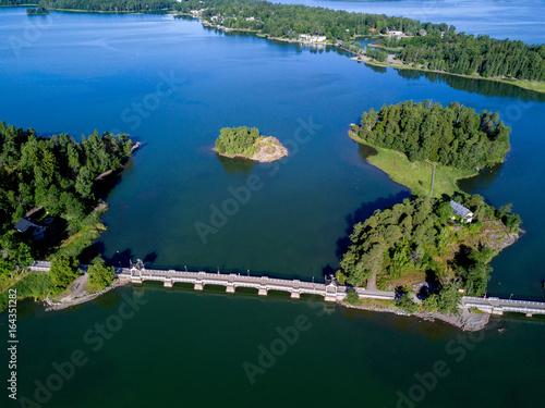 Tuinposter Indonesië aerial Lake Landscape with bridge and island