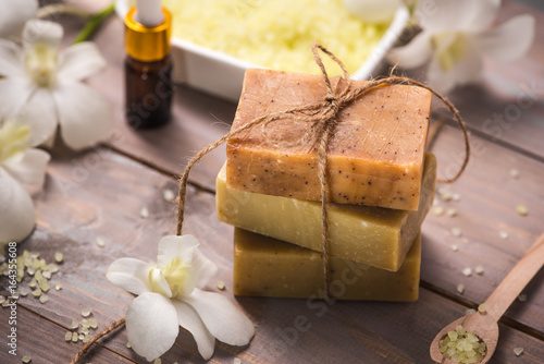 Fotografie, Obraz  Handmade Soap with Flower branch. Spa products.