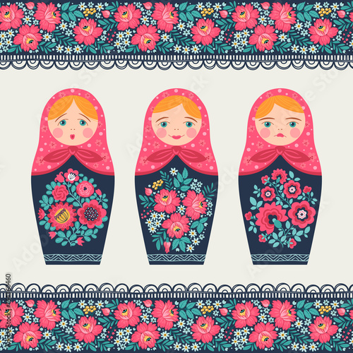 Set of illustrations with a Russian doll and seamless border Wallpaper Mural