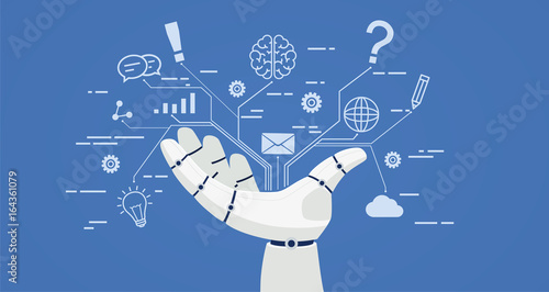 Obraz Chat bot, robot hand with icons. Artificial intelligence concept online. - fototapety do salonu