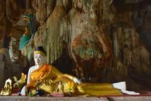 Reclining Buddha Statue Inside Bayin Nyi Cave Near Hpa-An, Myanmar (Burma).