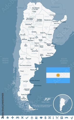 Argentina - map and flag illustration Canvas-taulu