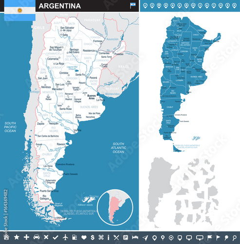 Argentina - infographic map and flag illustration Canvas-taulu