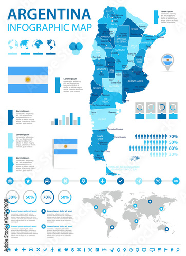 Pinturas sobre lienzo  Argentina - infographic map and flag - illustration