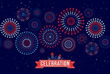 Vector Illustration Of A Festive Fireworks Display For Celebration.
