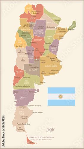 Valokuva  Argentina - vintage map and flag - illustration