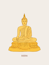 Thai Culture Concept With Buddha And Vase Of Lotus ,sketch Vector.