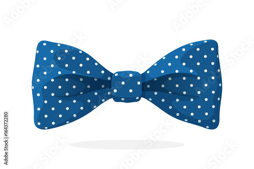 Blue bow tie with print a polka dots Fototapet