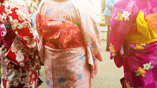 Back view of the Japanese Woman with Kimono Canvas Print