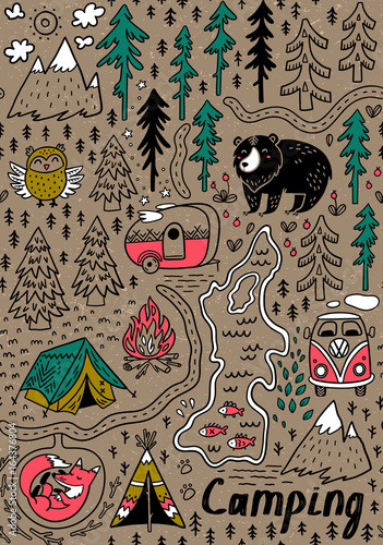 Photo  Summer camp and national park seamless pattern