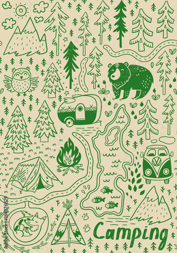 Valokuva  Summer camp and national park seamless pattern