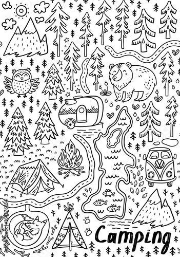 Summer camp and national park seamless pattern Canvas Print