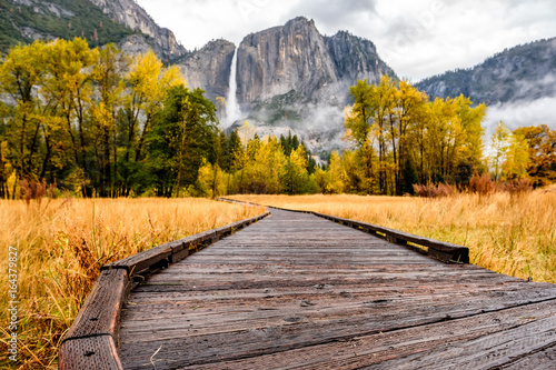 Meadow with boardwalk in Yosemite National Park Valley at autumn Wallpaper Mural