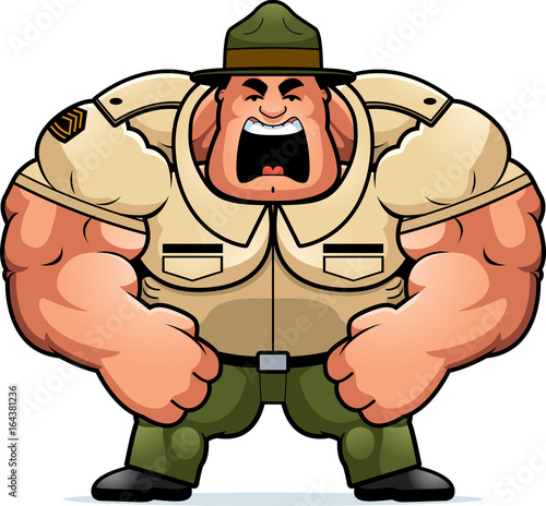 Fotografie, Obraz  Cartoon Drill Sergeant Yelling