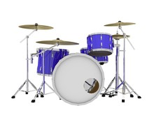 Isolated Blue Drums Front View - 3d Rendering