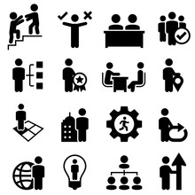 Business Human Resources Icons - Black Series