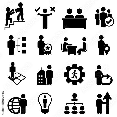 Fotografie, Obraz  Business Human Resources Icons - Black Series