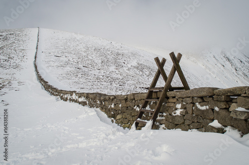 Fotografie, Obraz  Stile over stone wall in snowy landscape