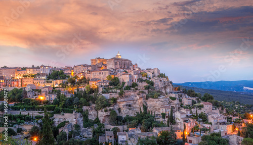 Canvas Prints Nice Famous old village Gordes in Provence against sunset in France