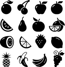Fruit Icons - Black Series