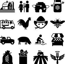 Farmer's Market Icons - Black ...