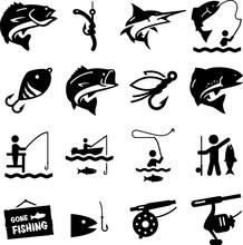 Fishing Icons - Black Series