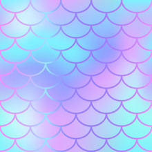 Cool Blue Fish Scale Pattern V...