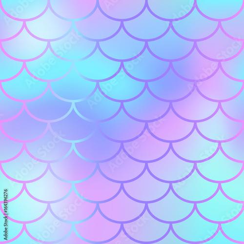 fototapeta na ścianę Cool blue fish scale pattern vector texture. Mermaid seamless pattern tile.
