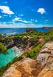 Island scenery, stunning beach of Cala des Moro, Majorca Spain, beautiful coast Mediterranean Sea