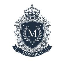 Coat Of Arms. Heraldic Royal Emblem Shield With Crown And Laurel Wreath. Heraldic Vector Template.